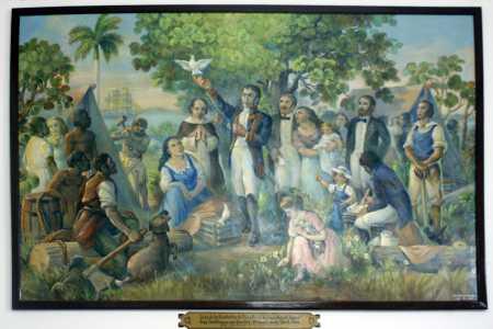 La famosa reproducción del cuadro de la Fundación de Cienfuegos